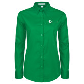 Ladies Kelly Green Twill Button Down Long Sleeve-The Navigators