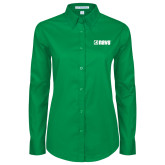 Ladies Kelly Green Twill Button Down Long Sleeve-NAVS