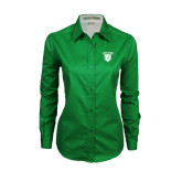 Ladies Kelly Green Twill Button Down Long Sleeve-Glen Eyrie