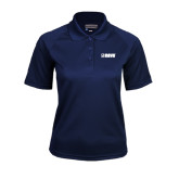 Ladies Navy Textured Saddle Shoulder Polo-NAVS