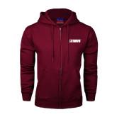 Champion Maroon Fleece Full Zip Hood-NAVS