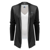 Ladies Black Open Front Cardigan-The Navigators Tone
