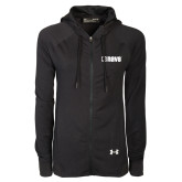Ladies Under Armour Black Varsity Full Zip Hoodie-NAVS