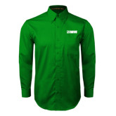 Kelly Green Twill Button Down Long Sleeve-NAVS