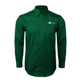 Dark Green Twill Button Down Long Sleeve-The Navigators