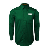 Dark Green Twill Button Down Long Sleeve-NAVS