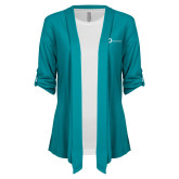 Ladies Teal Drape Front Cardigan-The Navigators