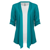 Ladies Teal Drape Front Cardigan-The Navigators Tone