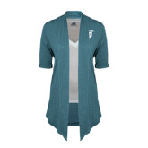 Ladies Teal Drape Front Cardigan-Glen Eyrie