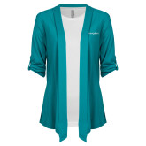 Ladies Teal Drape Front Cardigan-Navigators