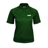 Ladies Dark Green Textured Saddle Shoulder Polo-NAVS