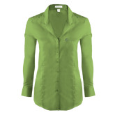 Ladies Red House Green Herringbone Non Iron Long Sleeve Shirt-The Navigators Tone