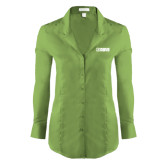 Ladies Red House Green Herringbone Non Iron Long Sleeve Shirt-NAVS