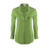Ladies Red House Green Herringbone Non Iron Long Sleeve Shirt-Glen Eyrie Tone