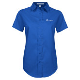Ladies Royal Twill Button Up Short Sleeve-Navigators