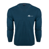 Classic Mens V Neck Moroccan Blue Sweater-The Navigators