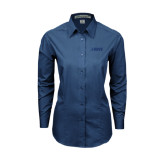 Ladies Deep Blue Tonal Pattern Long Sleeve Shirt-NAVS Tone