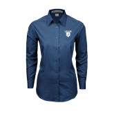 Ladies Deep Blue Tonal Pattern Long Sleeve Shirt-Glen Eyrie