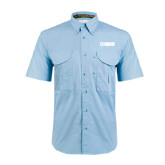 Light Blue Short Sleeve Performance Fishing Shirt-NAVS