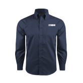 Red House Deep Blue Herringbone Long Sleeve Shirt-NAVS