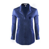 Ladies Red House Deep Blue Herringbone Non Iron Long Sleeve Shirt-Glen Eyrie Tone