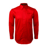 Red Twill Button Down Long Sleeve-NAVS Tone
