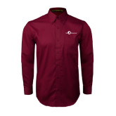 Maroon Twill Button Down Long Sleeve-The Navigators