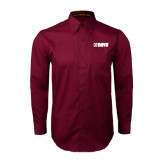 Maroon Twill Button Down Long Sleeve-NAVS