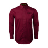 Maroon Twill Button Down Long Sleeve-NAVS Tone