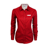 Ladies Red Twill Button Down Long Sleeve-NAVS