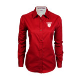 Ladies Red Twill Button Down Long Sleeve-Glen Eyrie