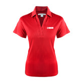 Ladies Red Performance Fine Jacquard Polo-NAVS