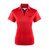 Ladies Red Performance Fine Jacquard Polo-NAVS Tone