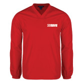 V Neck Red Raglan Windshirt-NAVS