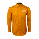 Gold Twill Button Down Long Sleeve-NAVS