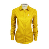 Ladies Gold Twill Button Down Long Sleeve-The Navigators