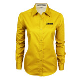 Ladies Gold Twill Button Down Long Sleeve-NAVS