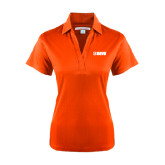 Ladies Orange Performance Fine Jacquard Polo-NAVS