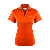 Ladies Orange Performance Fine Jacquard Polo-NAVS Tone