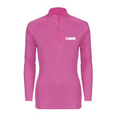 Ladies Syntrel Interlock Raspberry 1/4 Zip-NAVS