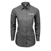 Ladies Grey Tonal Pattern Long Sleeve Shirt-NAVPRESS