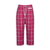 Ladies Dark Fuchsia/White Flannel Pajama Pant-NAVS