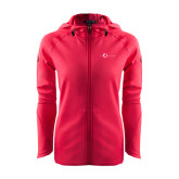 Ladies Tech Fleece Full Zip Hot Pink Hooded Jacket-The Navigators Tone