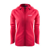 Ladies Tech Fleece Full Zip Hot Pink Hooded Jacket-NAVS Tone