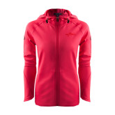 Ladies Tech Fleece Full Zip Hot Pink Hooded Jacket-Eagle Lake Tone