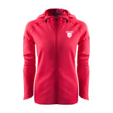 Ladies Tech Fleece Full Zip Hot Pink Hooded Jacket-Glen Eyrie