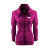 Ladies Sport Wick Stretch Full Zip Deep Berry Jacket-NAVS