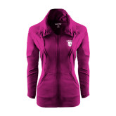Ladies Sport Wick Stretch Full Zip Deep Berry Jacket-Glen Eyrie