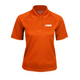 Ladies Orange Textured Saddle Shoulder Polo-NAVS