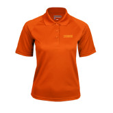 Ladies Orange Textured Saddle Shoulder Polo-NAVS Tone